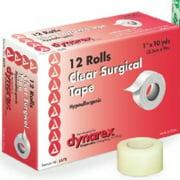"Dynarex Transparent Surgical Tape 1""X10YD 12 Rolls"