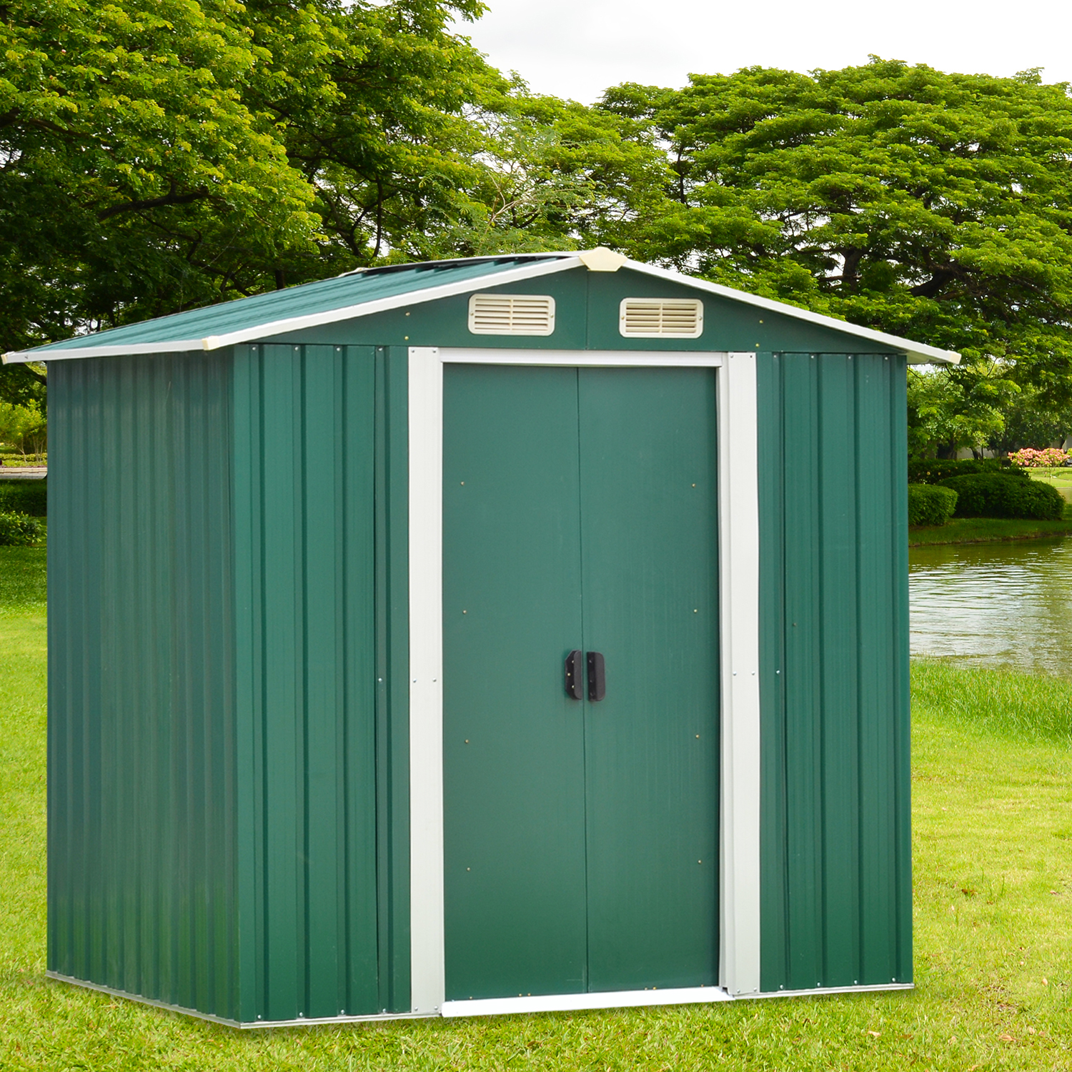 Kinbor 6' x 4' Outdoor Steel Garden Storage Utility Tool Shed Backyard Lawn Green w/Door