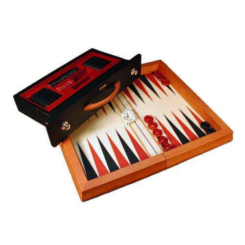 Wood Attache Red & Black Backgammon Set