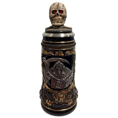 Grim Reaper with Skull Lid Gift Boxed LE Stoneware German Beer Stein .5 L