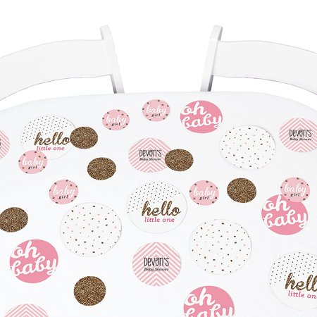 Hello Little One - Pink and Gold - Girl Baby Shower Table Confetti Set - 27 Count (Pink And Gold Baby Shower)