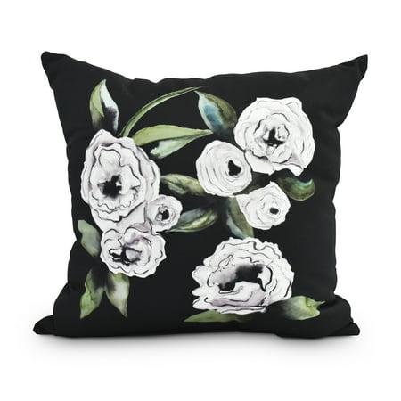 Radiant Rose 18 Inch Black Floral Print Decorative Outdoor Throw Pillow (Print Outdoor Throw Pillows)