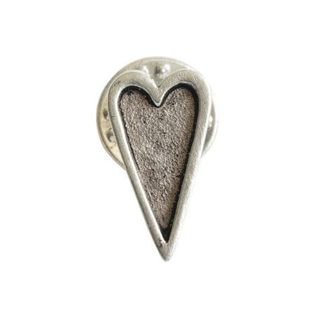 Nunn Design Bezel Lapel Pin, Mini Heart 9.8x18.5mm, 1 Piece, Antiqued Silver