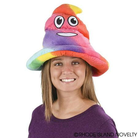 Novelty Treasures Soft Fabric Rainbow Emoji Poop Hat - Rainbow Poop