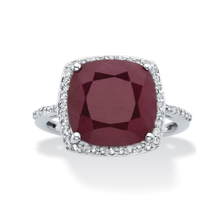 Cushion-Cut Genuine Red Ruby and White Topaz Halo Cocktail Ring 4.61 TCW in Sterling (Cushion Cut Cocktail Ring)