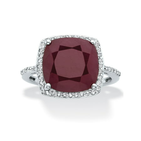 Cushion-Cut Genuine Red Ruby and White Topaz Halo Cocktail Ring 4.61 TCW in Sterling Silver (Titanium Halo Ring)