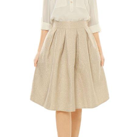 - Women High Waist Floral Jacquard Pleated Full Skirt Beige/M (US 10)