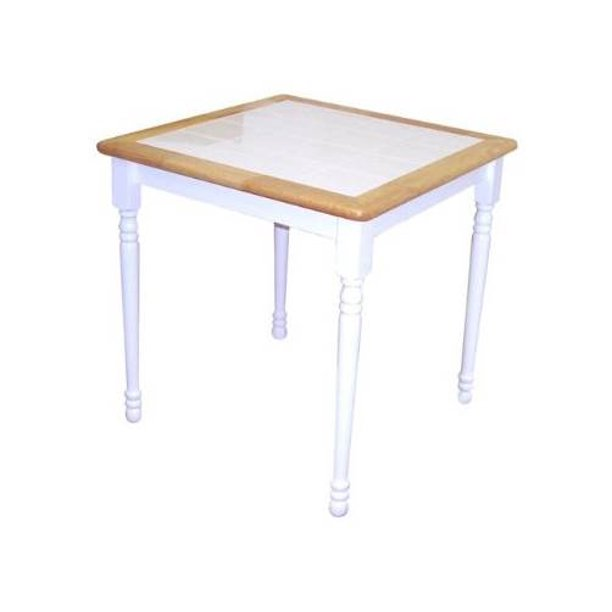 Cottage Wood Dining Table W Ceramic Tile Top Two Tone Finish Walmart Com Walmart Com