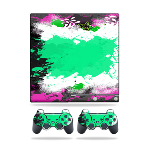 Skin Decal for Sony Playstation 3 PS3 Slim + 2 controllers Paint Splatter