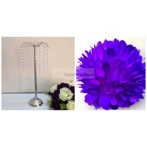 Feather Ball Centerpieces with Crystal Flower Stand -Purple New!!! (Feather Ball Centerpieces)