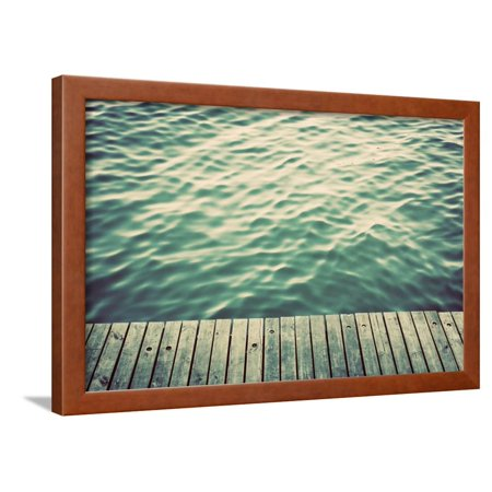 Grunge Wood Boards of a Pier over Ocean with Rippling Waves. Vintage Background Framed Print Wall Art By Michal (Ripple Wave Board)