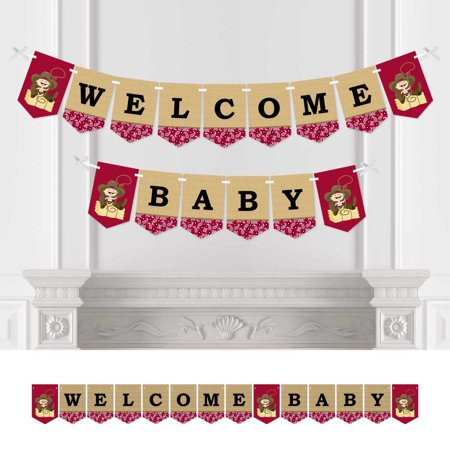 Little Cowboy - Baby Shower Bunting Banner - Western Party Decorations - Welcome Baby