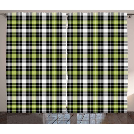 Abstract Curtains 2 Panels Set, Square Shaped Horizontal and Vertical Lines  Geometric Style Art Print, Window Drapes for Living Room Bedroom, 108W X