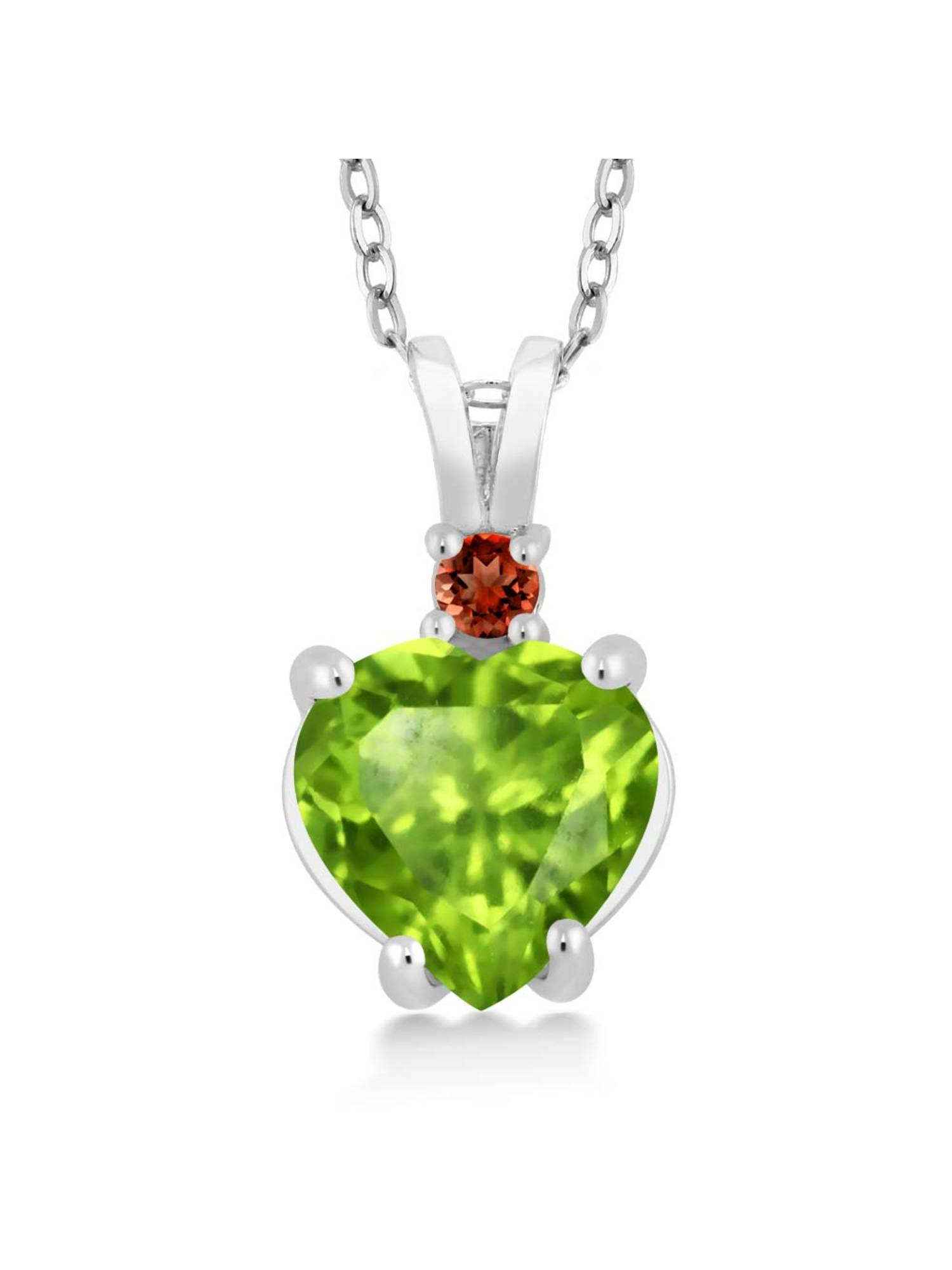 14K White Gold Heart Pendant set with 1.54 Ct Green Peridot Red Garnet by