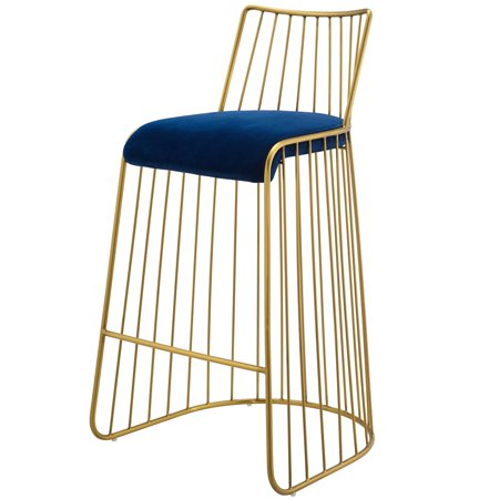 Modern Deco Contemporary Urban Bar Pub and Dining Kitchen Stainless Bar Side Stool Chair, Velvet Fabric Metal Steel, Gold Navy ()