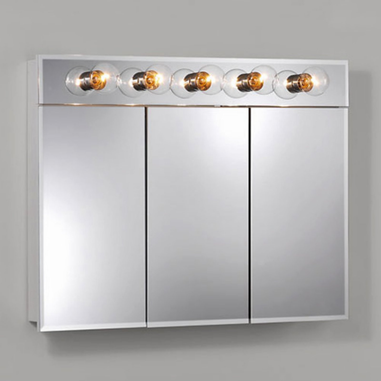 Jensen Medicine Cabinet Ashland Tri-View 5-Light 36W x 28H in. Surface Mount Medicine... by Nutone Broan