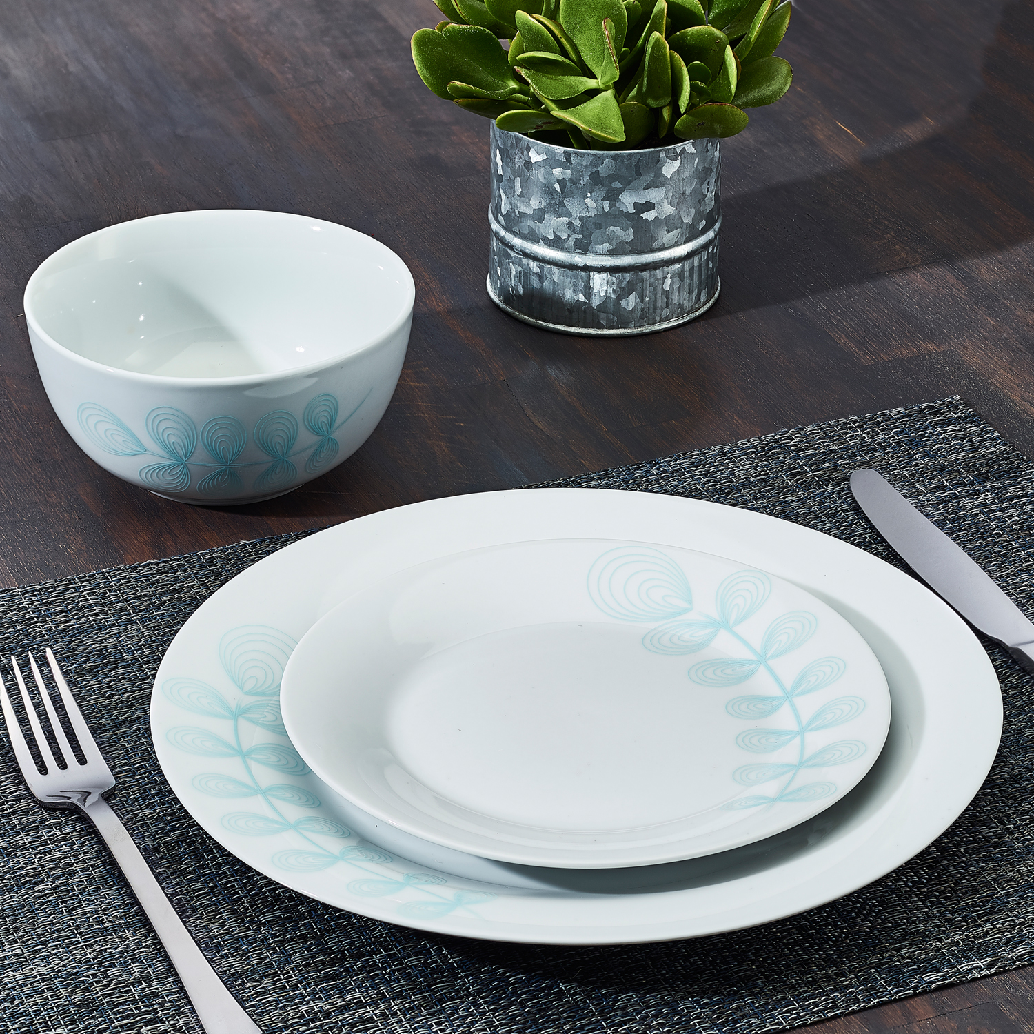 12-Piece April Floral Collection Porcelain Dinnerware Set, Blue