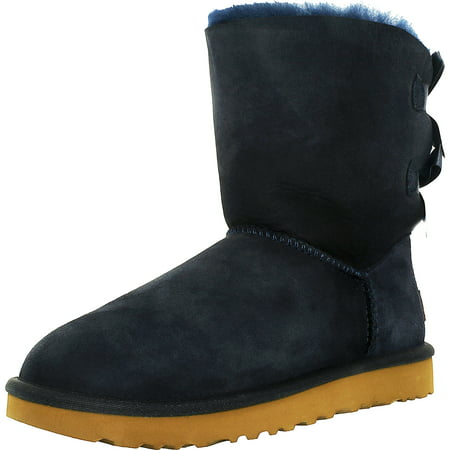 Ugg Women's Bailey Bow II Navy Ankle-High Suede Boot - 9M - Light Blue Uggs With Bows