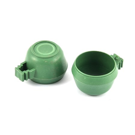 Clean Cup Feeder - Bird Pigeon Plastic Round Water Liquid Feeder Pet Drinking Cup Green 2 Pcs