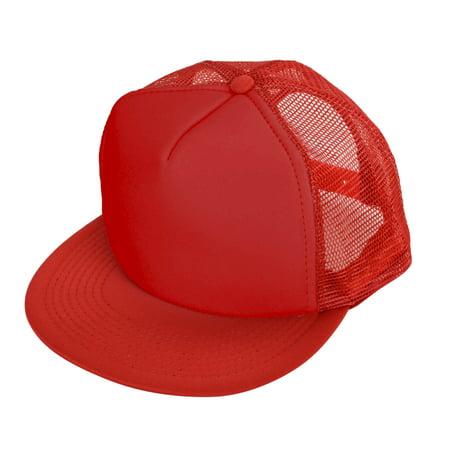 a988bf687e9 DALIX - DALIX Classic Trucker Cap Flat Bill Adjustable Snapback 5 Panel  Plain Hat Red - Walmart.com