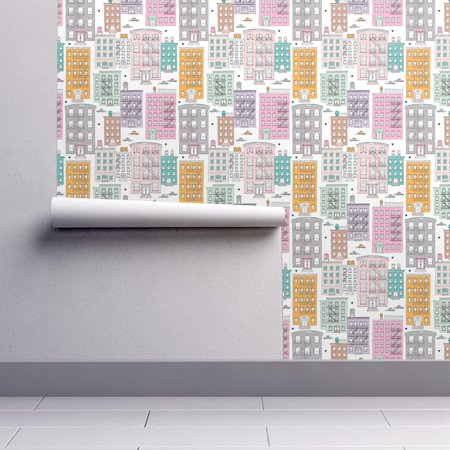 Removable Water-Activated Wallpaper New York City Brownstones Nyc Brownstone - Windy City Wallpaper