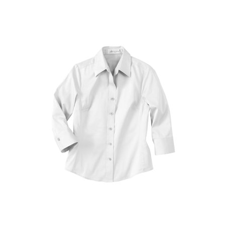 Il Migliore 77020 Ladies' 3/4 Sleeve Solid Stretch Shirt Button Down