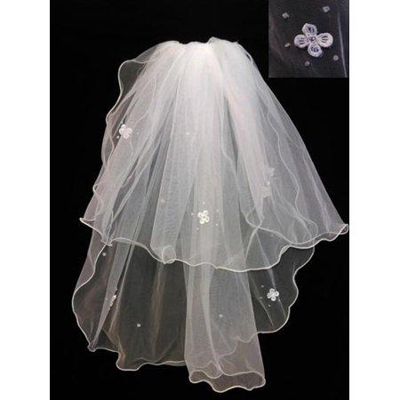 Girls Women White Daisy Flower Bubble Beading Communion Bridal Wedding Veil 24
