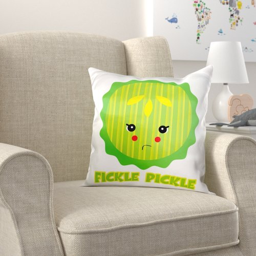 Zoomie Kids Brito Cute Kawaii Fickle Pickle Pillow Cover