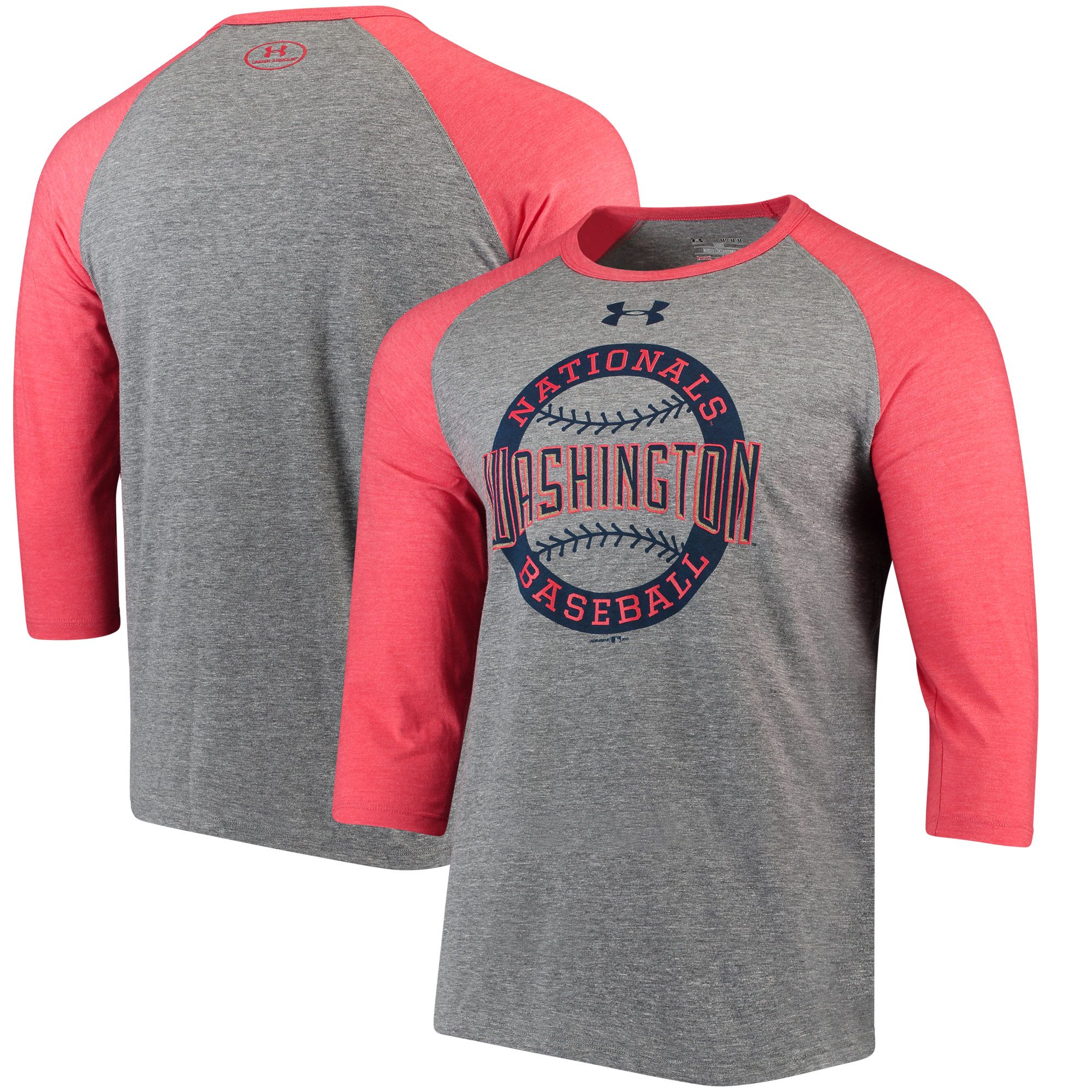 Washington Nationals Under Armour Baseball 3/4-Sleeve Tri-Blend T-Shirt - Gray/Red