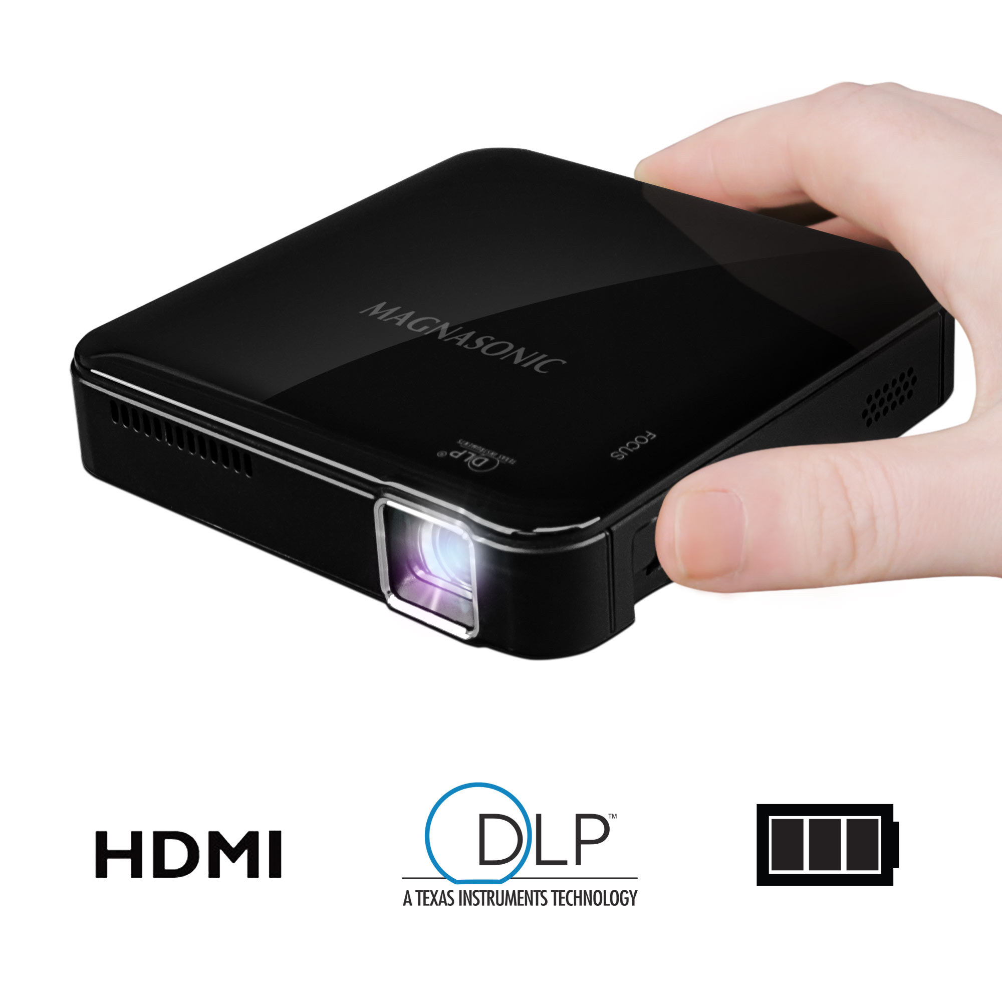 Magnasonic Mini Portable Pico Video Projector with HDMI, Battery, DLP, Vibrant 50 Lumen Brightness (PP71)