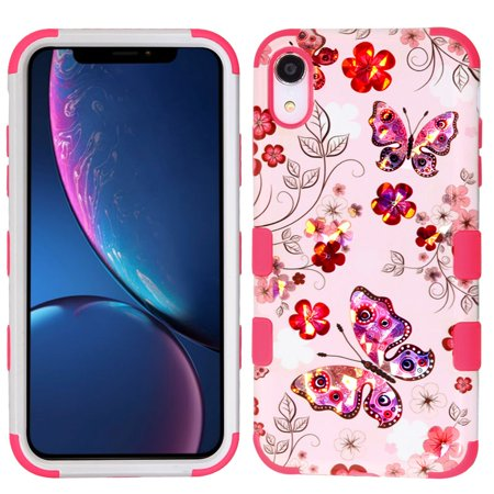 Apple iPhone XR Case, by Insten Tuff Butterfly Dual Layer [Shock Absorbing] Hybrid Hard Plastic/Soft TPU Rubber Case Cover For Apple iPhone XR, Multi-Color