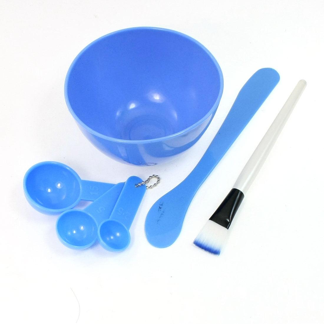 Unique Bargains 4 in 1 DIY Mask Soft Plastic Bowl Spoons Brush Stick Facial Sets Blue