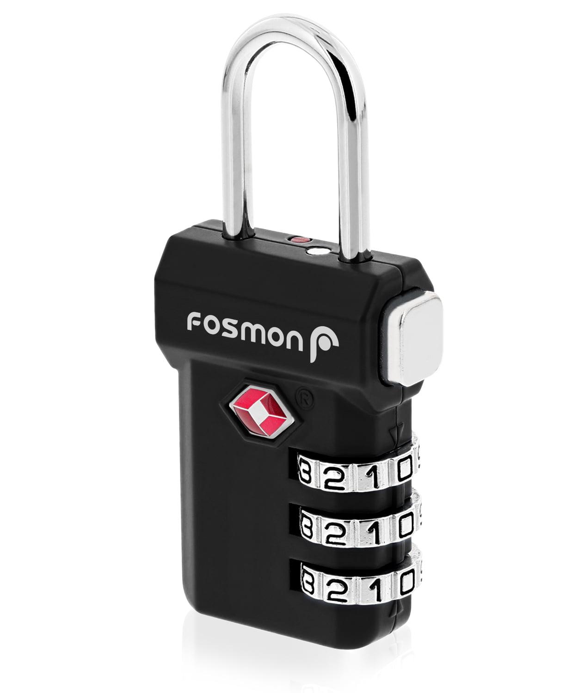 Fosmon Open Alert Indicator TSA Approved 3 Digit Combination Luggage Lock - Black - New Mold