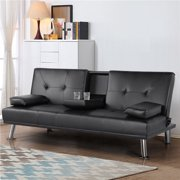 Smilemart Modern Faux Leather Reclining Futon with Cupholders and Pillows, Black