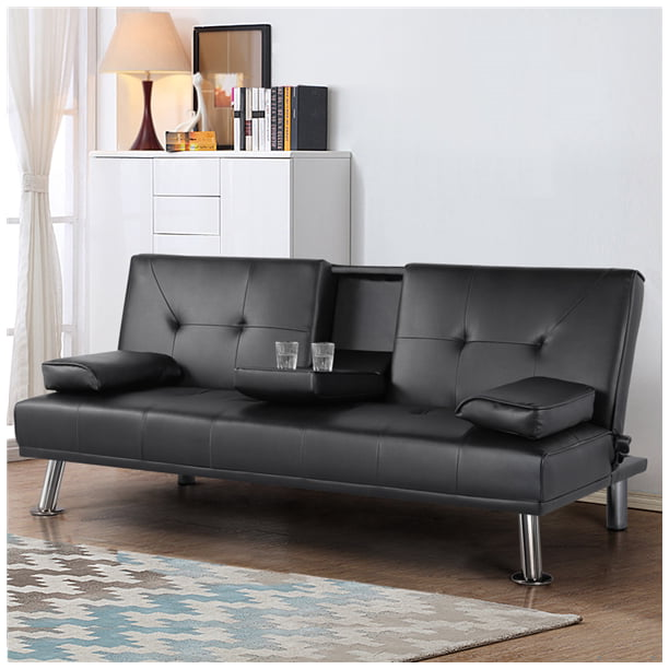 Adjule Faux Leather Sofa Bed With