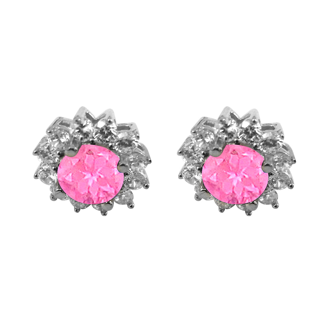 September Birthstone Created Pink Sapphire with CZ Earrings in Sterling Silver - image 2 de 2