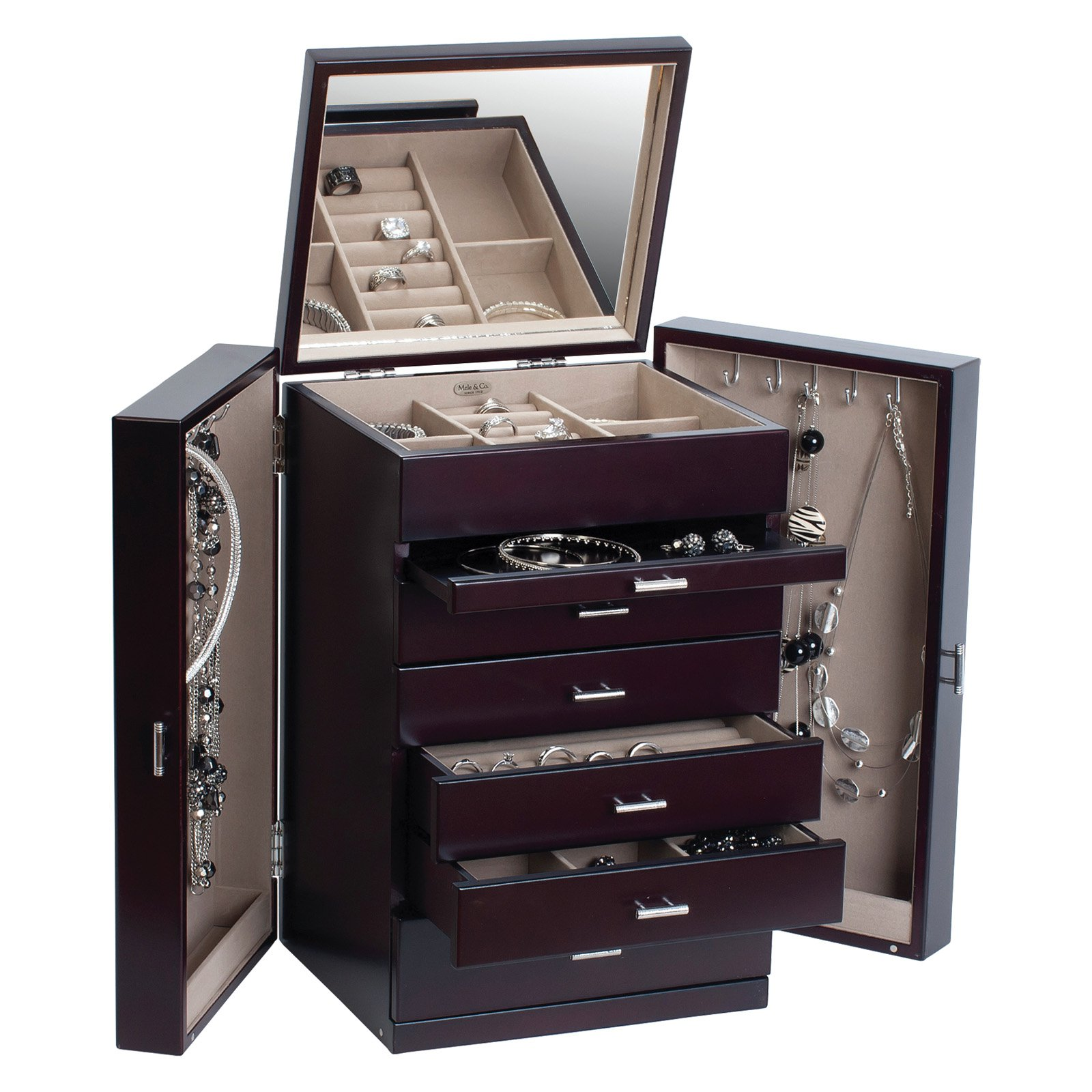 Geneva Upright Wooden Jewelry Box  sc 1 st  Walmart & Mele u0026amp; Co. Geneva Upright Wooden Jewelry Box - Walmart.com