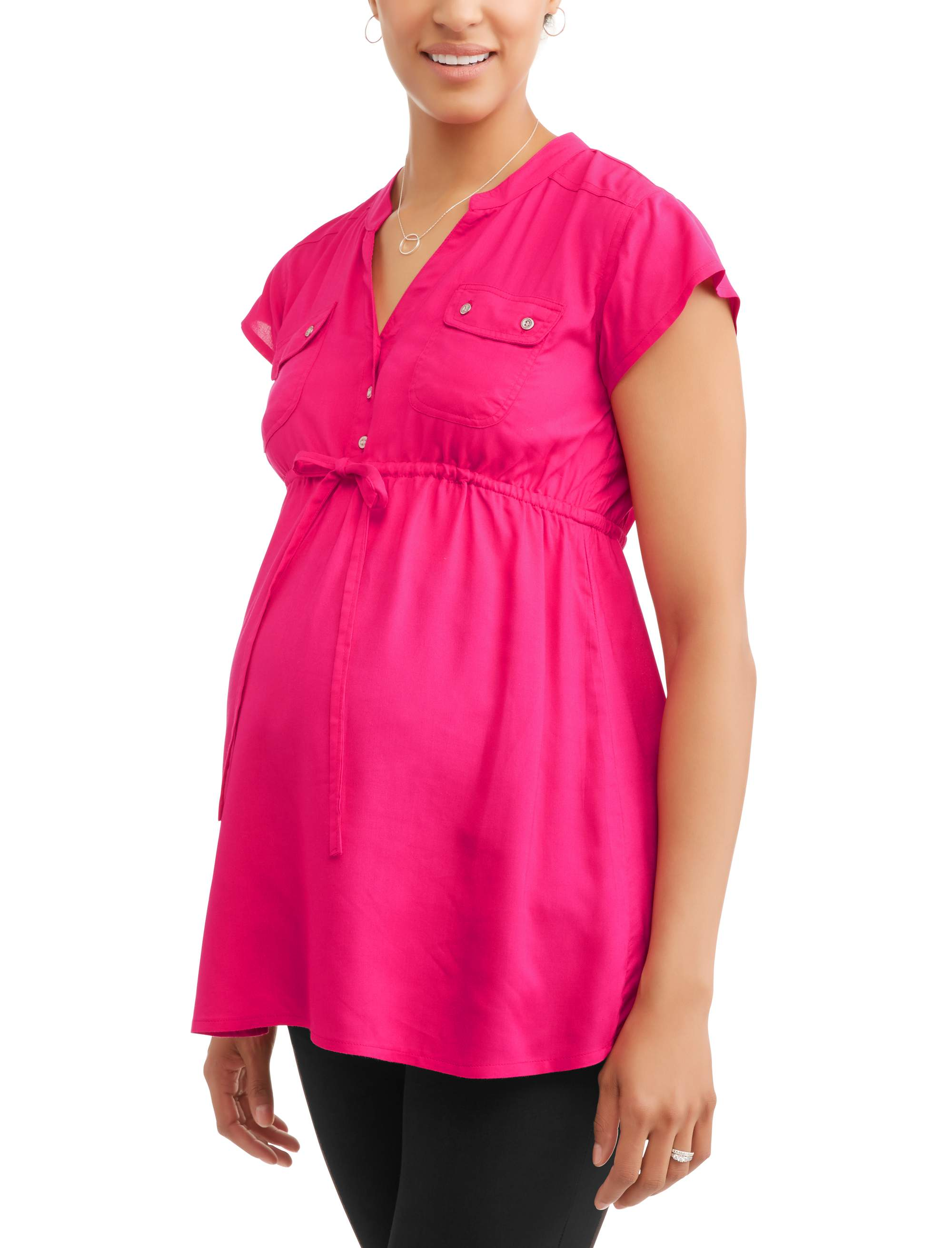 Maternity Drawstring Waist Button Front Top--Available in Plus Size