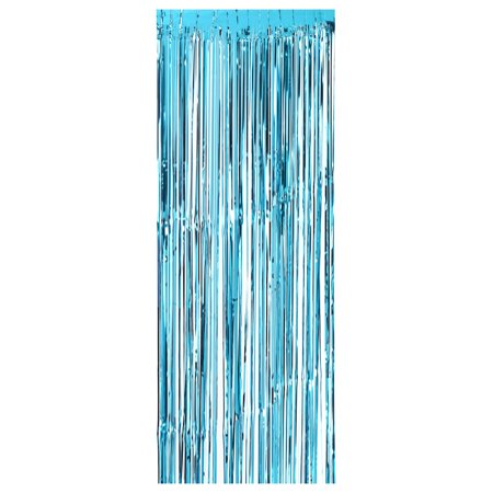 100 * 300cm Metallic Foil Fringe Curtain Tinsel Shimmer Window Door Curtain Wall Backdrop Panel Decoration for Wedding Christmas Party--Blue](Tinsel Backdrop)