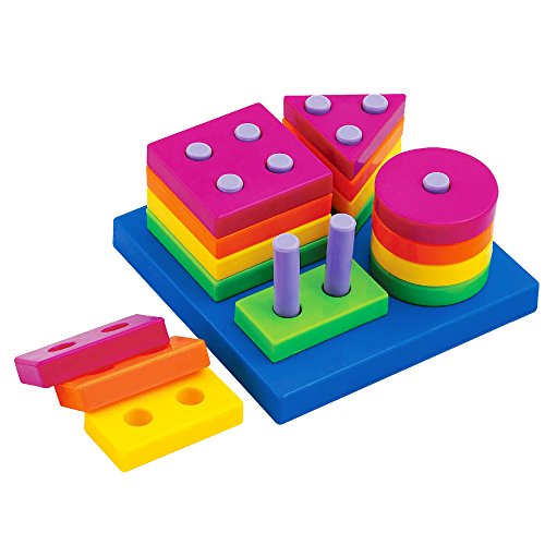 Baby Shape Sorts Colors Board Preschool Early Developmental Educational Geometric Block... by