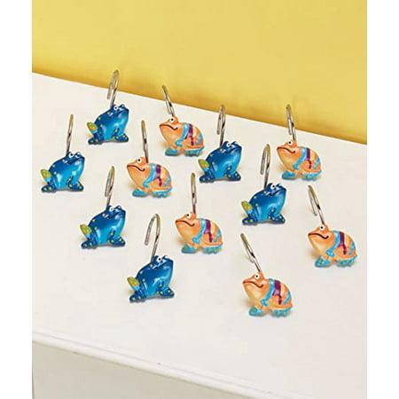 Set Of 12 Frog Shower Curtain Hooks