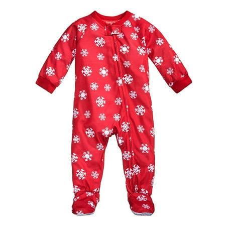 Family PJs Snowflake Meltdown Printed Footed Pajamas](Family Christmas Pjs Sale)