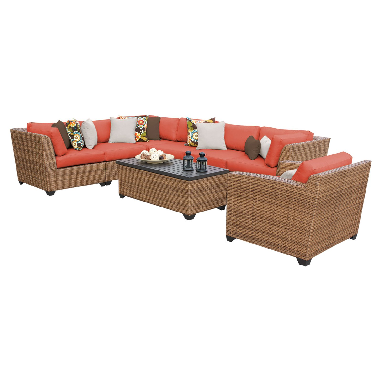 TK Classics Laguna Wicker 8 Piece Patio Conversation Set with Club Chair and 2 Sets of Cushion Covers by Delacora