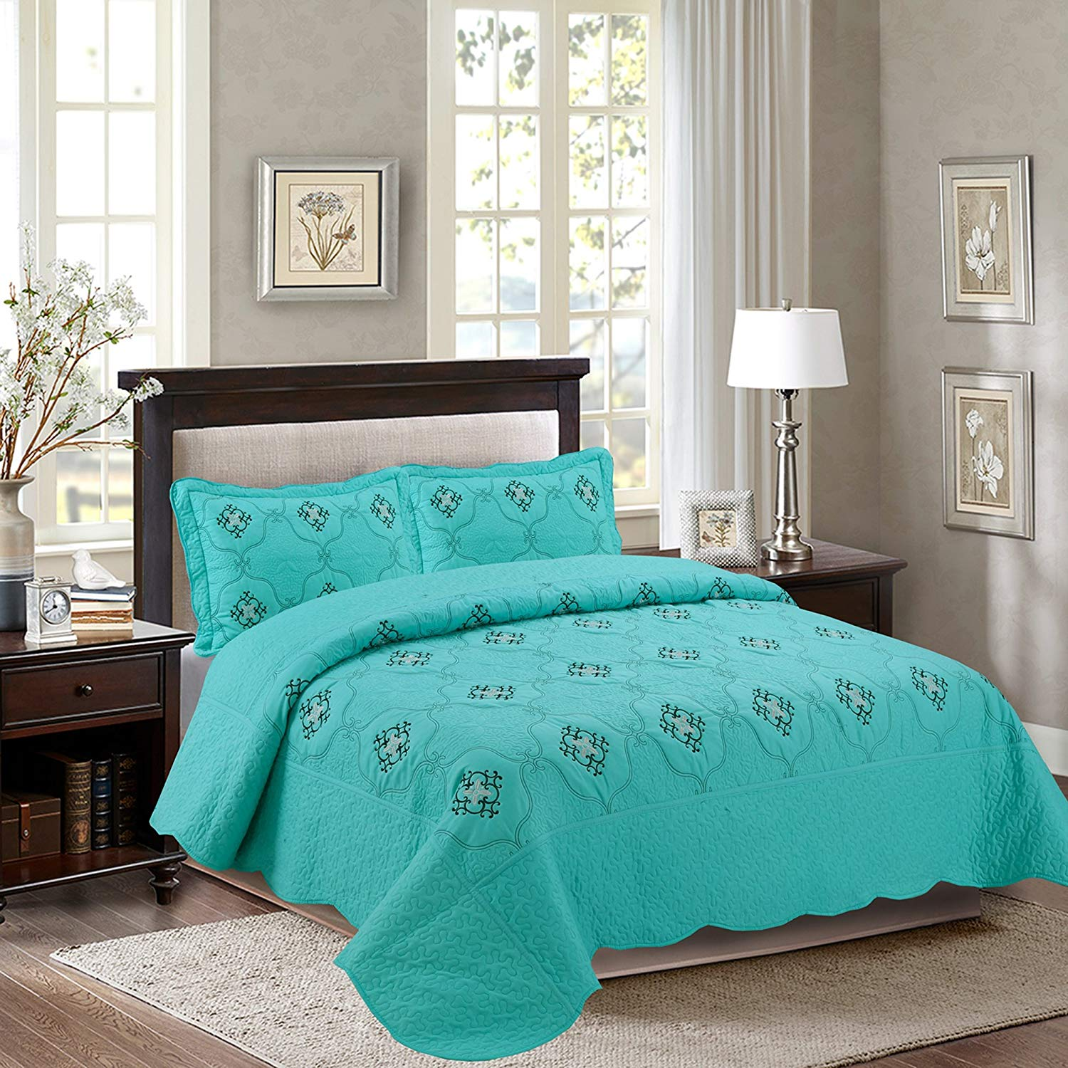 Quilted Embrodiery Bedspread Bed Coverlets Covers Set Taupe Burgundy Aqua Blue