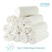 """Cotton Cloth Baby Diapers 12 PCS , Reusable 6 Ply High Absorbency Diapers,12""""x16"""", White"""