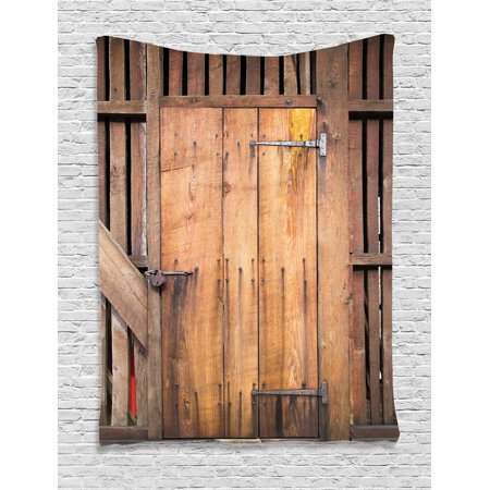 Rustic Decor Wall Hanging Tapestry, Dated Simple Door Like In Construction Vertical Barns House Nobody Bohemian Decor Print, Bedroom Living Room Dorm Accessories, By Ambesonne ()