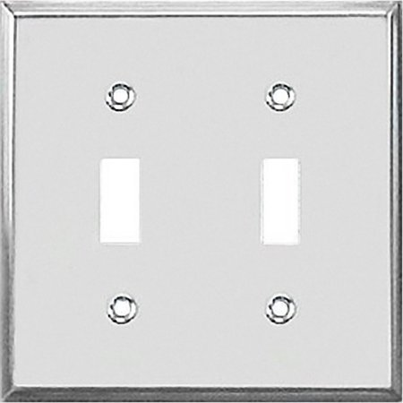 Polished Chrome Solid Switch Wall Plate-CHR 2-TOGGLE WALL PLATE