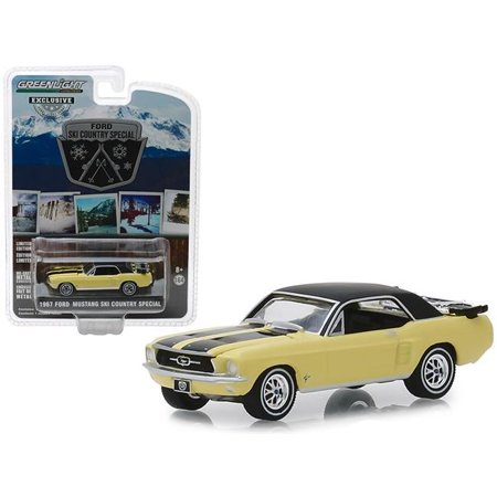 1967 Ford Mustang Coupe Yellow w/Black Stripes and a Pair of Skis