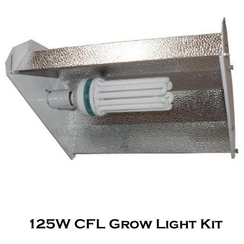 125W CFL Fluorescent Bulb Grow Light Hood Reflector Hydroponics Kit - 125 Watt