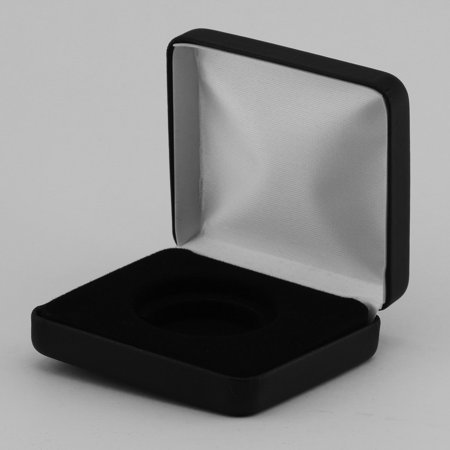 (1) Black Leatherette Coin Display Box Presentation Case for a Single Air-Tite Brand Coin Holder (Leatherette Display)